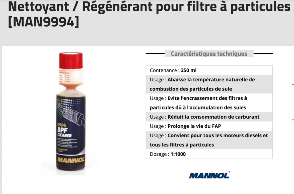 nettoyant régénérant pour filtre a particules mannol